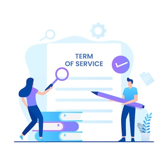契約条件の図の概念。ウェブサイト、ランディングページ、モバイルアプリケーション、ポスター、バナーのイラスト