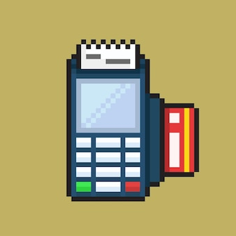 Terminal payment machine with pixel art styl