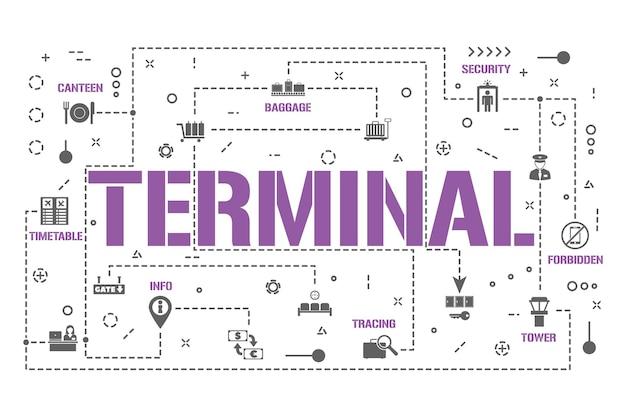 ターミナルワードコンセプトバナー。乗客のための空港サービス。航空会社のフライトのインフォグラフィック。プレゼンテーション、ウェブサイト。 uiuxのアイデア。グリフアイコン付きの孤立したレタリングタイポグラフィ。ベクトルフラットイラスト。