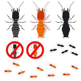 Набор иконок термитов. знаки для борьбы с насекомыми. иллюстрация жуков, изолированные на белом фоне.