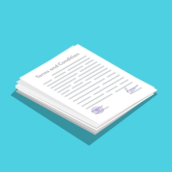 契約条件icometricアイコン。書類、契約書。フラットスタイルのベクトル図です。