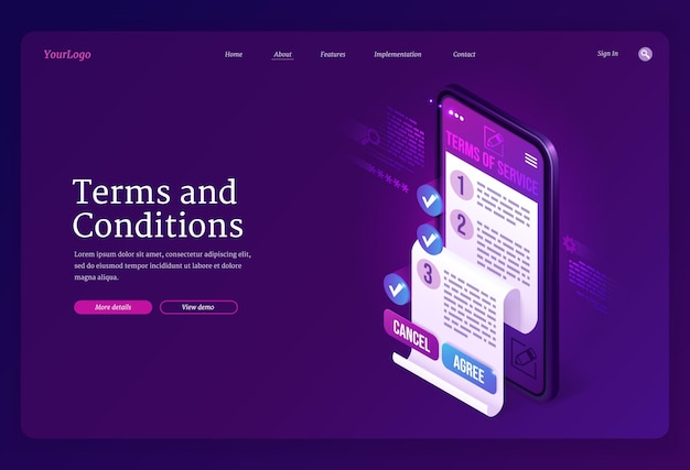 Terms and conditions isometric landing page