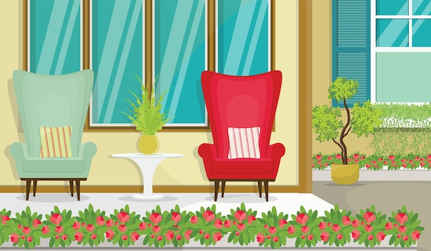 Terrace view with sofa and flowerpot vector illustration