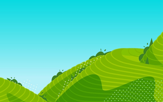 Terraced fields landscape rural pastoral illustration farmland tea garden harvest season poster