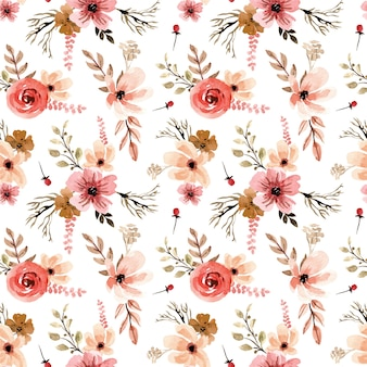 Terracota vintage florals watercolor seamless pattern