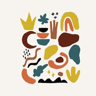 テラコッタカラープリント抽象現代絵画ファッションスカンジナビアスタイル。抽象化ポスター現代ミニマリズム
