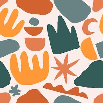 テラコッタカラーシームレスパターン抽象現代絵画ファッションスカンジナビアスタイル。抽象化ポスター現代ミニマリズム