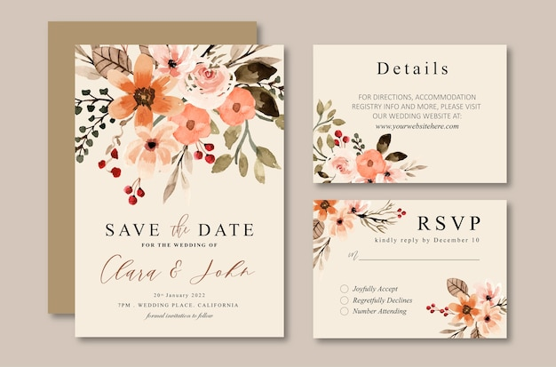 Terracotta floral vintage watercolor wedding invitation