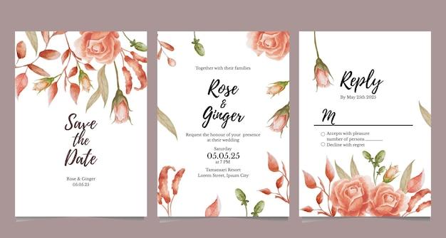 結婚式の招待カードのテラコッタの花のテーマ