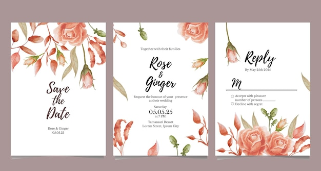 Terracotta flower theme for wedding invitation card
