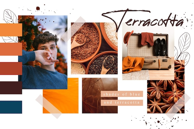 Terracotta moodboard collage