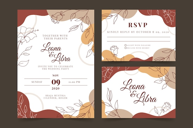 Terracotta wedding invitation template