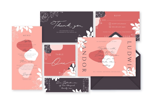 Terracotta wedding stationery elegant template