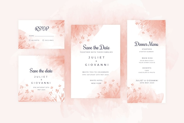 Terracotta wedding stationery set
