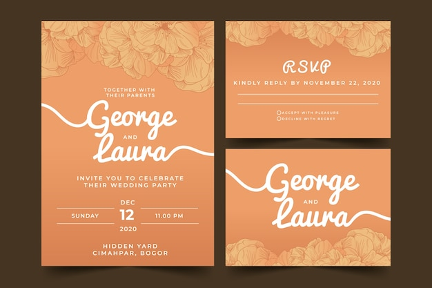Terracotta wedding stationery template collection