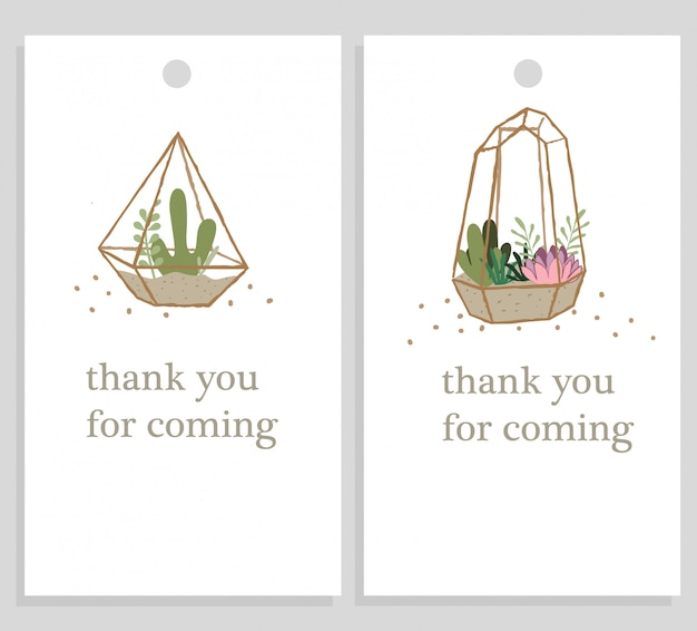 Terrariums thank you tags wedding label