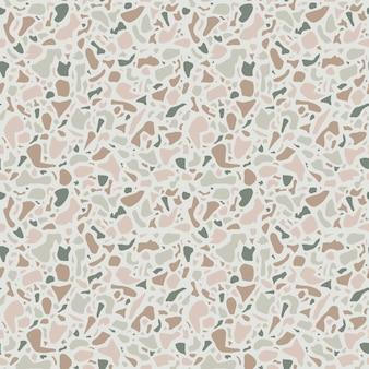 Терраццо фоновой текстуры. бесшовный образец зеленый натуральный камень, стекло, кварц, бетон, мрамор. классический итальянский тип пола. терраццо дизайн.