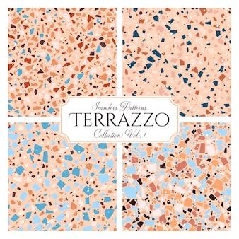 テラゾ壊れたタイルの床のテクスチャのシームレスなパターン、天然石、大理石、ガラス、コンクリートの模造品で構成された混沌としたモザイク部分とベクトルの抽象的な背景。