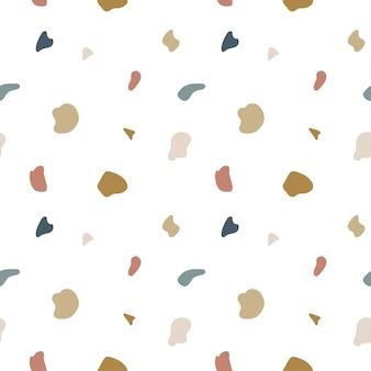 テラゾフローリングのシームレスパターン。天然石の破片、大理石の花崗岩の石灰岩のベクトルモザイクテクスチャ