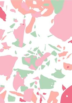 テラゾモダン抽象テンプレート。クラシックなイタリアンフローリングのピンクとグリーンの質感。ベネチアンテラゾトレンディなベクトルの背景石、花崗岩、石英、大理石、コンクリートで作られた背景。