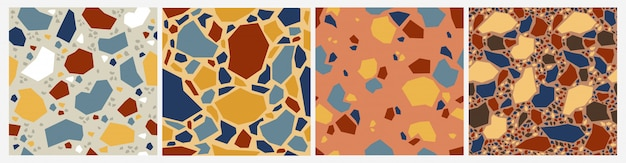 Terrazzo mosaic seamless pattern. abstract stone tile pattern, decorative marble decoration.