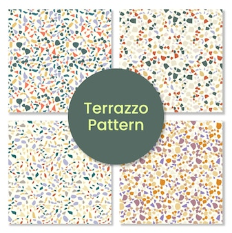 Terrazzo pattern set with mosaic shapes.