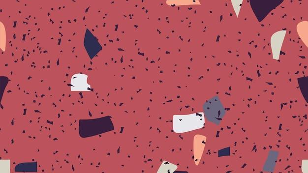 赤でテラゾーのシームレス パターン背景