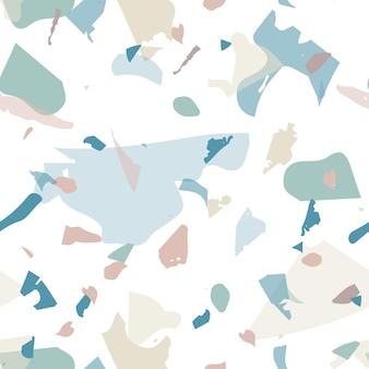 テラゾシームレスパターン。ブルーのクラシックなフローリングの質感。クールな色のテラゾシームレスパターン。天然石、花崗岩、石英、大理石、コンクリートで作られた背景。