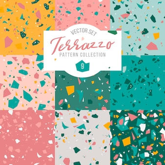 Terrazzo seamless pattern collection.