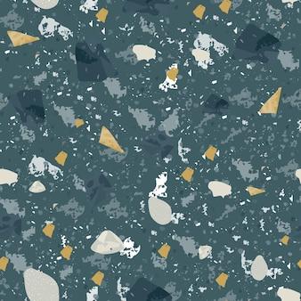 テラゾシームレスパターン。ダーククラシックなフローリングの質感。天然石、花崗岩、石英、大理石、コンクリートで作られた魅力的な背景。ユニークなシームレステラゾ。