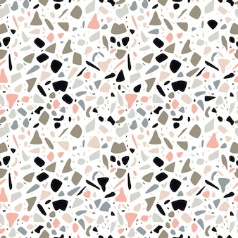 Terrazzo seamless pattern design with hand drawn rocks.