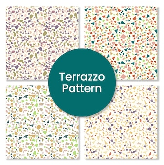 Terrazzo seamless pattern design with rocks.