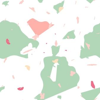 テラゾシームレスパターン。室内装飾用の素朴なミニマルな床タイル。天然石、花崗岩、石英、大理石、コンクリートで作られた背景。クールな色のテラゾシームレスパターン。