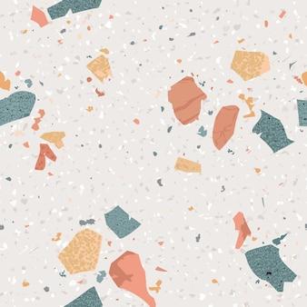 테라조 완벽 한 패턴입니다. 화강암, 돌, 석영 조각 및 콘크리트로 구성된 추상적인 배경 대리석 질감 바닥재. 벡터 일러스트 레이 션
