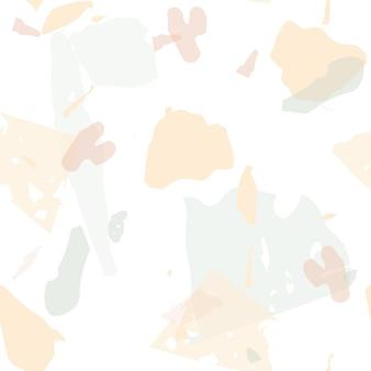 テラゾシームレスパターン。パステルベネチアン舗装模倣タイル。天然石、花崗岩、石英、大理石、コンクリートで作られた背景。クールな色のテラゾシームレスパターン。