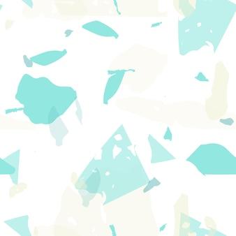 テラゾシームレスパターン。パステルベネチアン舗装模倣タイル。クールな色のテラゾシームレスパターン。天然石、花崗岩、石英、大理石、コンクリートで作られた背景。