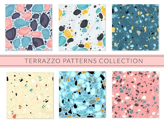 Terrazzo 원활한 패턴 세트 프리미엄 벡터