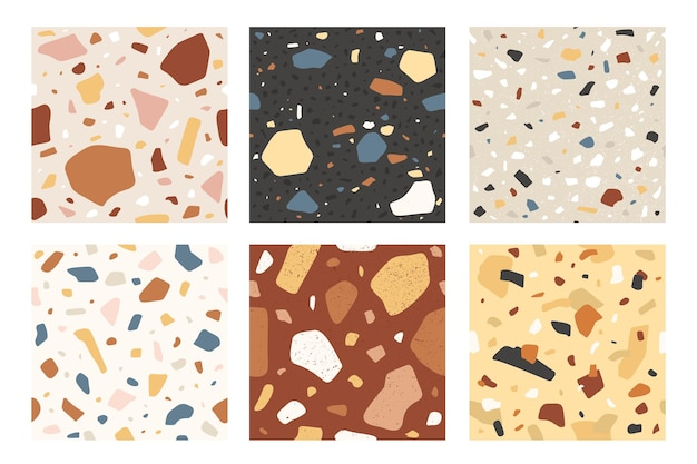 テラゾシームレスパターン。ヴェネツィアーノイタリア石モザイク複合テクスチャ、装飾タイル。花崗岩フローリングテクスチャサンプル、ベクトルセット。カラフルな混沌とした要素と作品のコレクション