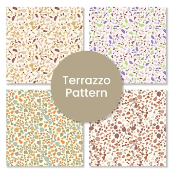 Terrazzo seamless pattern with abstract shapes.