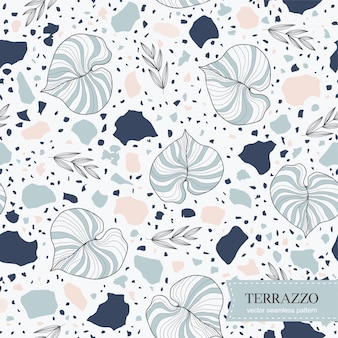 Terrazzo seamless pattern with hand drawn leaves