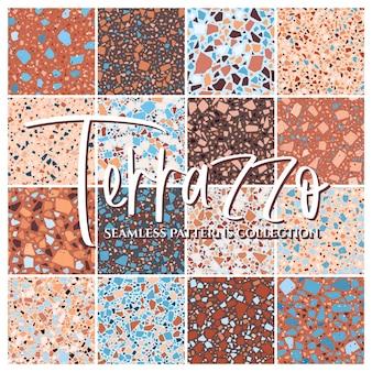 テラゾタイルの床のテクスチャのシームレスなパターンの大きなコレクション、天然石、大理石、ガラス、コンクリートの模造品で構成された混沌としたモザイクの部分で抽象的な背景をベクトルします。