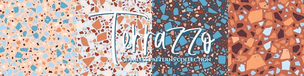 テラゾタイル床テクスチャシームレスパターンコレクション
