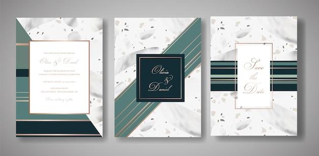 テラゾの結婚式の招待カードセット。挨拶、バナー、大理石のテクスチャのポスターのための豪華な幾何学的抽象デザインテンプレート。日付、出欠確認を保存します。ベクトルイラスト