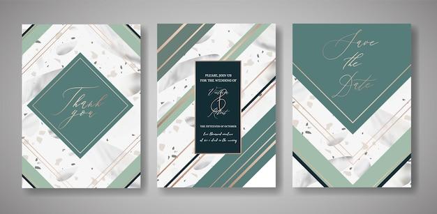 テラゾの結婚式の招待カードセット。挨拶、バナー、大理石のテクスチャのポスターのための豪華な幾何学的なデザインテンプレート。日付、出欠確認を保存します。ベクトルイラスト