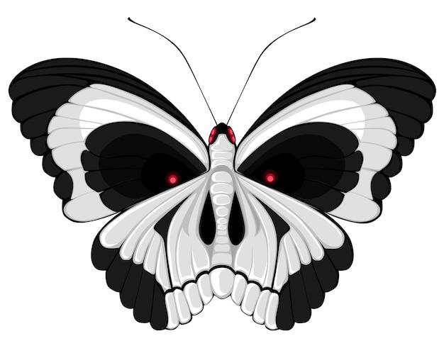 翼の上の頭蓋骨とひどい蝶
