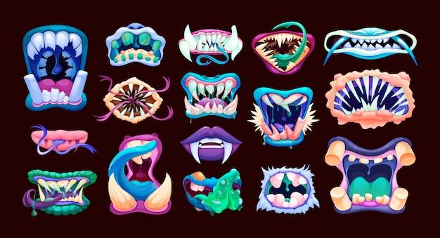 끔찍한 괴물 입. 무서운 입술 이빨과 혀 괴물.