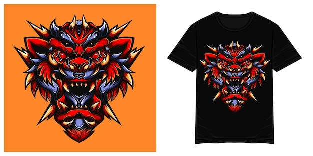 Terrible red tiger and sharp fangs vector tshirt illustration