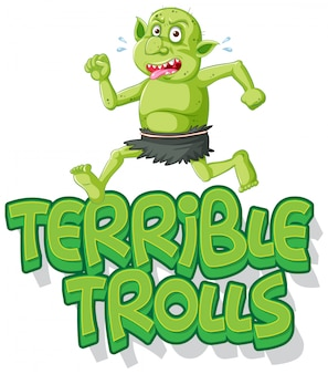 Logo di troll terribili su sfondo bianco