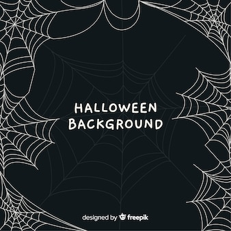 Terrific halloween background with cobweb