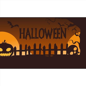 Потрясающий фон хэллоуина с плоским дизайном